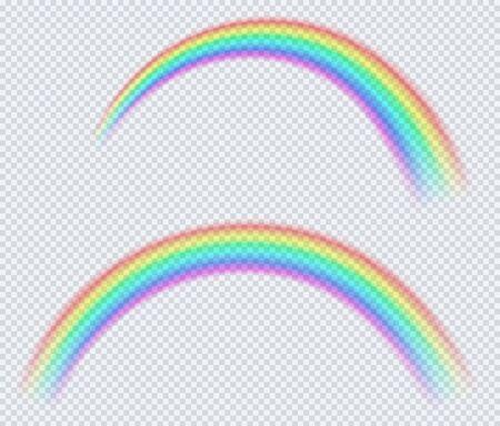 Transparent colored rainbow, arc of a circle. After rain symbol of nature. 일러스트