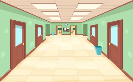 Empty corridor with closed and open doors. The interior of the school, college or university. Education concept. Ilustração