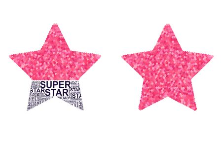 Star with pink glitter hearts and slogan super star. Ilustrace