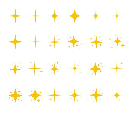 Yellow sparkling stars, shiny flashes of fireworks. Set of star elements with various glowing light effects. Ilustrace