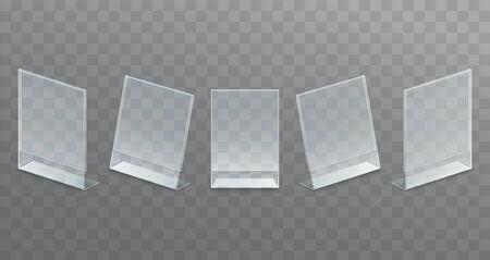 Plastic desktop transparent advertising stand, paper holder. Set of mock up stands, menu.