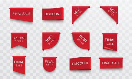 Sale stickers labels. Set of red banners ribbons design elements.
