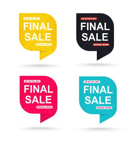 Final sale discount sticker 70. Promotional tags special offers banner. Фото со стока - 130153969