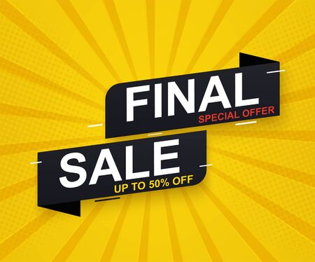 Final sale banner sticker up to 50 discount on yellow background. Special offer banner.