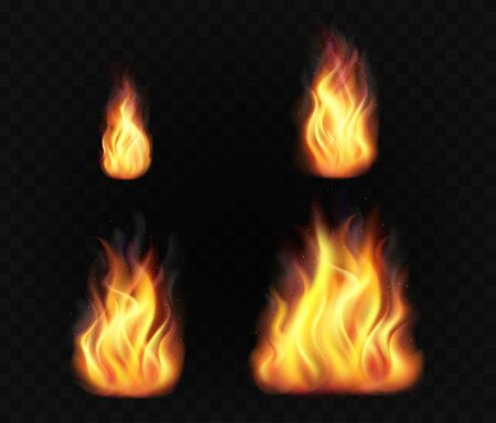 Realistic fire flames. Set of transparent burning light effects.