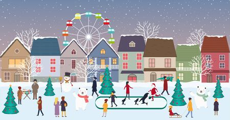 Christmas fair, winter landscape in city with houses, people, polar bears, ice skating. Panorama of winter city life on the eve New Year and Christmas holidays.