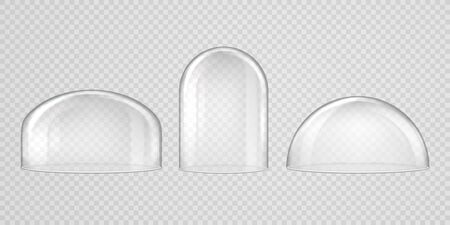Spherical glass domes on transparent background. Set of transparent forms for kitchen utensils, exhibitions and presentations.