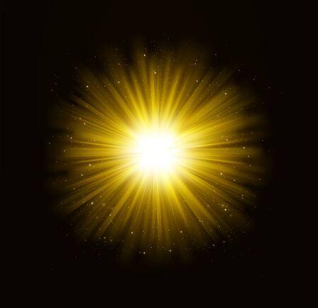 Goldener heller leuchtender Lichteffekt mit Sternen. Lichtstrahlen mit Funkeln auf dunklem Hintergrund. Vektorgrafik