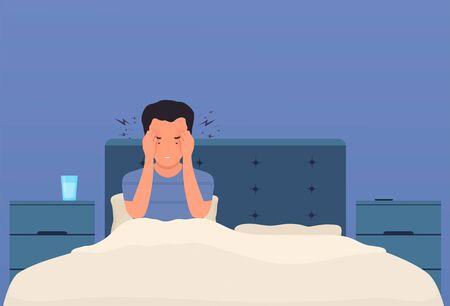 Kopfschmerzen. Ein Mann im Bett hat Kopfschmerzen, Migräne, Druck im Kopf. Müde Person mit starken Schmerzen in den Schläfen drückt die Hände an den Kopf. Vektorgrafik