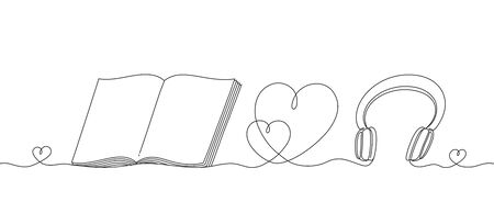 Headphones and an open book with a heart, a continuous linear pattern. Musical instrument for listening music and a educational subject for reading on white background. Concept love to music and readi