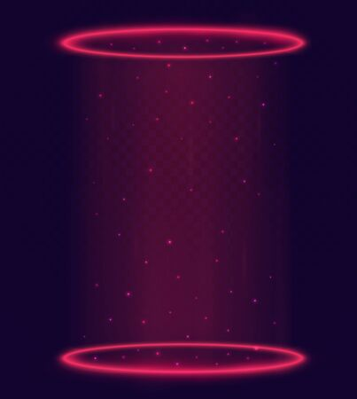Luminous magic portal, teleport with red rings and rays light of a night scene with sparks on transparent background. Futuristic hologram elements. 向量圖像