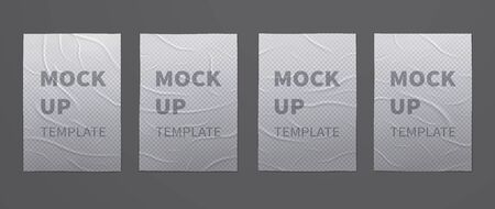 Wrinkled wet transparent posters mockups of crumpled sheets of paper. Set of advertising templates for design.