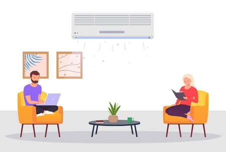 Room with air conditioning and people. Man and a woman work on laptop, relax at home in room with cooling. Concept of climate control indoors. Stock Illustratie