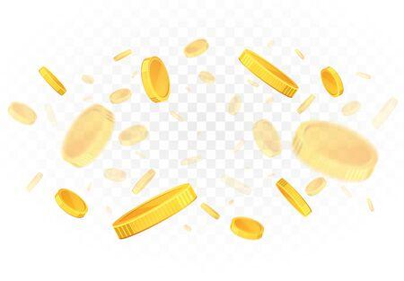 Explosion of falling gold coins on a transparent background. Ilustração
