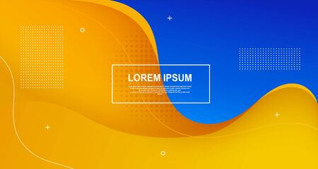 Liquid colored shapes abstract futuristic minimal wave background brochure. Yellow-blue banner with fluidity lines.