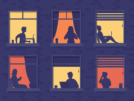 People in windows house look out of room or apartment, work on laptop, talk on phone, read books, running on treadmill. Concept people sit at home evening, working, studying and rest.