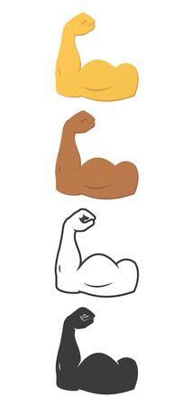 Flexed male arm biceps. Muscle flexion icon, arm training.