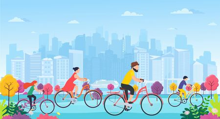 People on bicycles in park. Family with children sports and outdoor activities. Panorama city buildings view ecologically clean city park.
