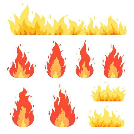 Fire flame, bonfire. Red-yellow burning fiery flaming symbols.