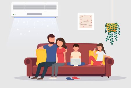 Room with air conditioning and people on couch. Man and woman with children in room with cooling. Concept of climate control indoors. Stock Illustratie