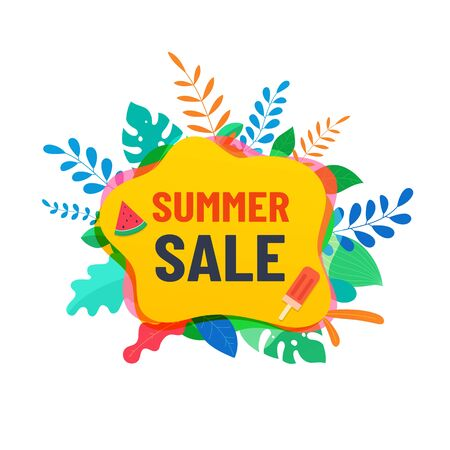 Summer abstract sale banner with tropical leaves, summer design for social media, poster, advertisement.