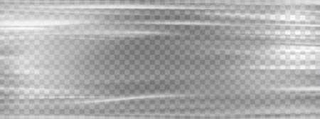 Transparent plastic wrap. Cellophane white stretch plastic wrap mockup. Vectores