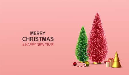 Merry Christmas and Happy New Year. Xmas background with decorative red and green Christmas tree, gift boxes, golden Christmas decoration, candy cane, colorful balls.