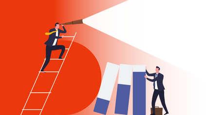 Business vision, business risk protection. Businessman holds graph columns that have fallen as result crisis, unstable economy. Vektoros illusztráció