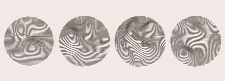 Spheres of wavy dynamic lines. Imitation fluid geometric shapes. Abstract mesh design