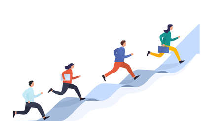 People run on arrow reaching target. Concept career success, startup and business development. Group of specialists different levels of profession move through obstacles.