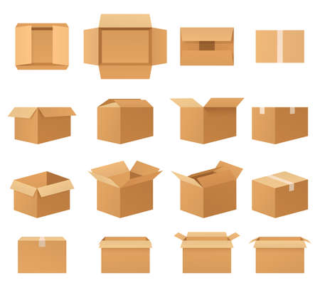 Empty cardboard packages boxes, set of open and closed delivery packaging, front view, top view, side view, angled. Paper mail boxes various shapes. Иллюстрация