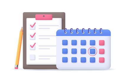 Calendar with to-do checklist. Business task planning.