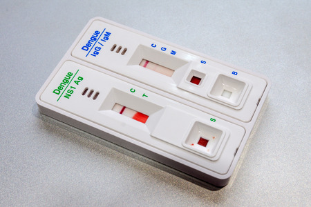 Used Dengue Test Kit With Negative Infection Result Stock Photo