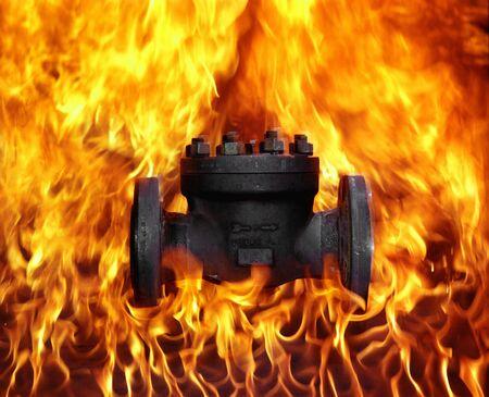 Flaming Oil Valve Reklamní fotografie