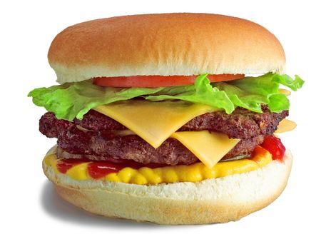 hamburguesa de pollo: Hamburguesa doble hamburguesa con queso  Foto de archivo
