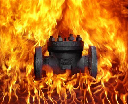 Industrial oil valve on fire