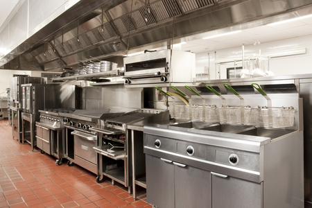 Stainless Steel Commercial Kitchen Stockfoto