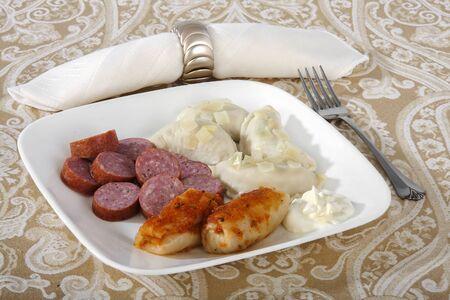 Dumplings with sausages