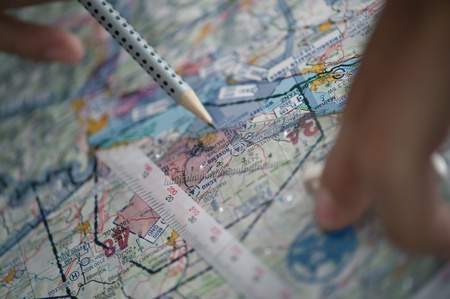map pencil: Route flight planning map pencil