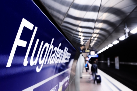 stuttgart: Underground train station, tube, at Stuttgart airport with Flughafen sign Editorial