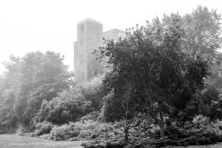 building in fog