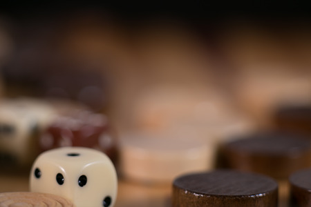 partial: backgammon, dice, wood, close up , macro, aspect, partial, background Stock Photo