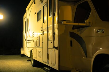 recreational vehicle: recreational vehicle night side Stock Photo