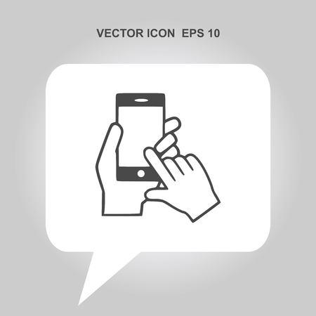 smartphone hand: hand holding smartphone vector icon
