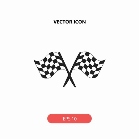 two crossed checkered flags: racing flag vector icon Illustration