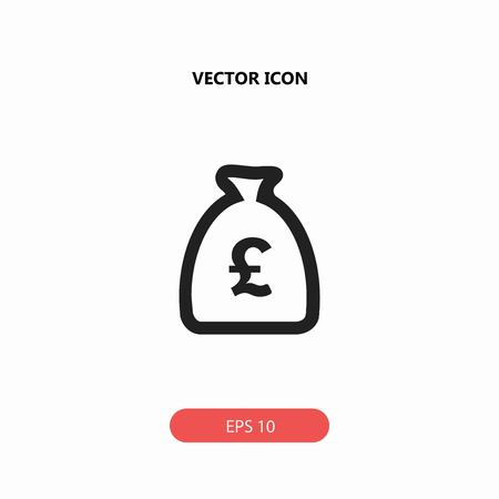 moneybag with pound sterling vector icon