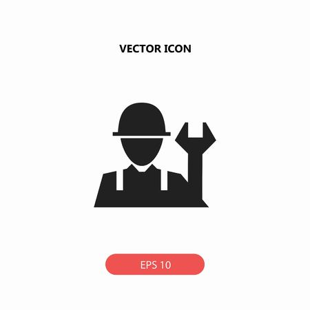 heavy construction: worker with work tool vector icon