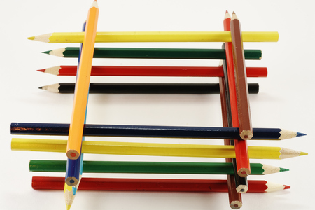 lined up: Colored pencils lined up in a tower Stock Photo