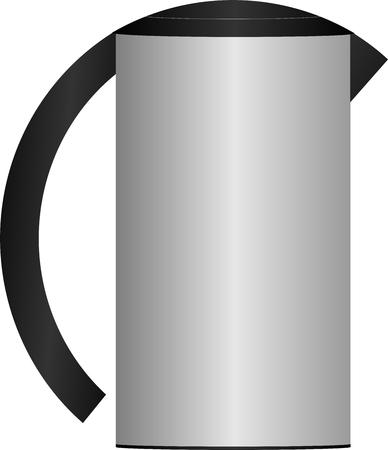 grijs ijzer ketel met zwarte deksel en handvat Stock Illustratie