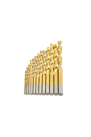 Metal drill bits for metal of different diameters on a white background Stock Photo